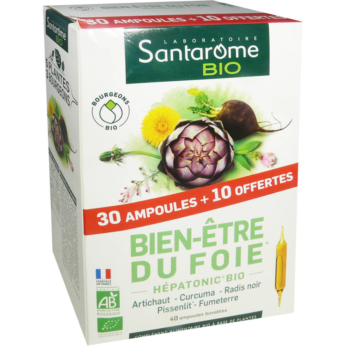 Santarome bio bien etre du fois hepatonic bio 30 + 10 ampoules offertes