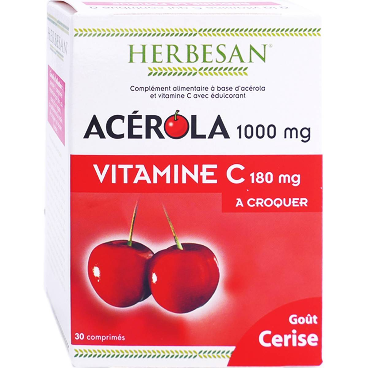 herbesan acerola 1000 vitamine c 180mg a croquer