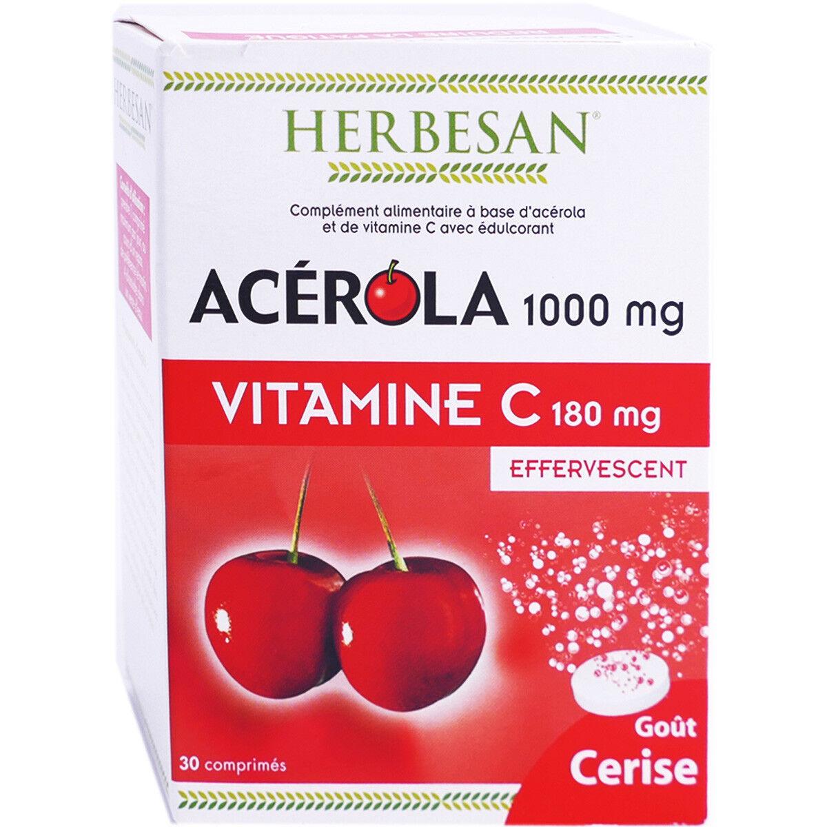 Herbesan acerola 1000 vitamine c 180mg effervescents