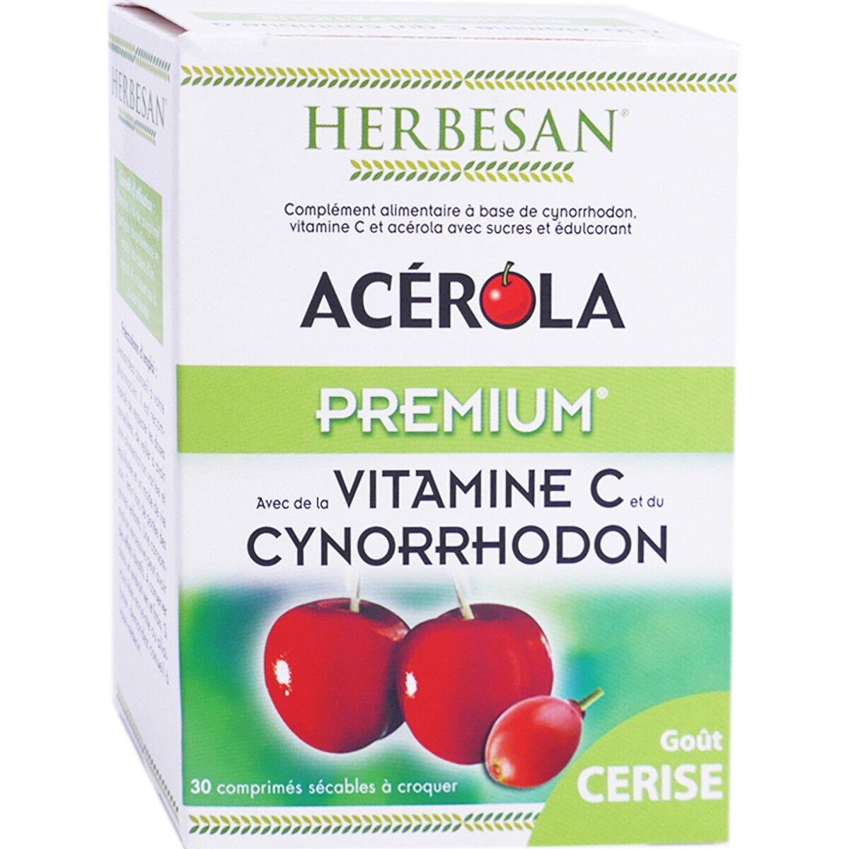 Herbesan acerola premium vitamine c 500 30 comprimes