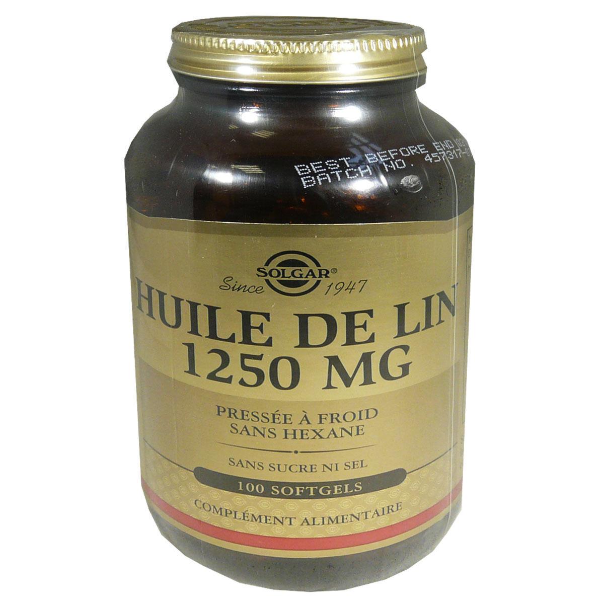 Solgar huile de lin 1250 mg 100 softgels