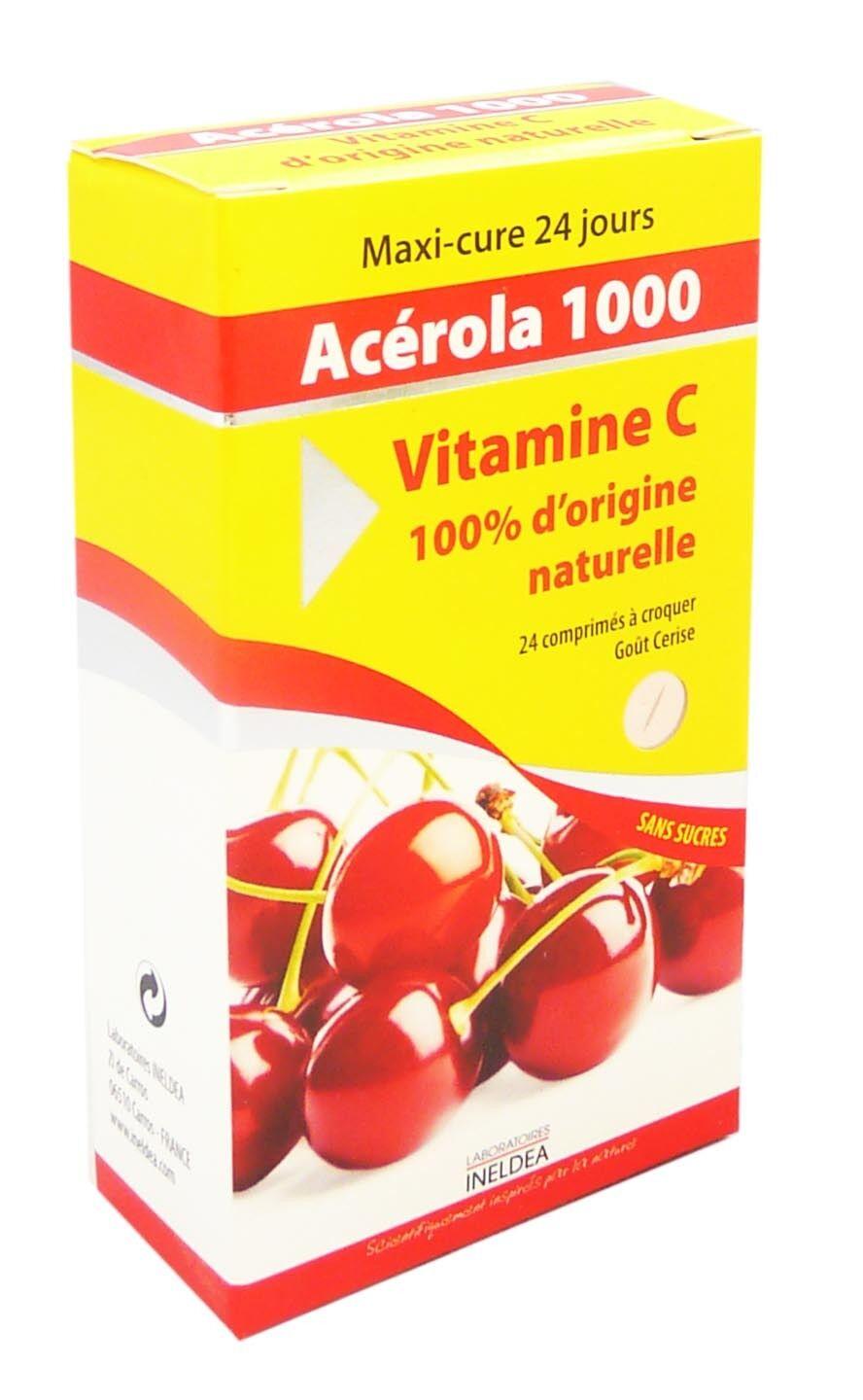 INELDEA Vitamin 22 acerola 1000 tonus & vitalite vitamine c ineldea 24 comprimes
