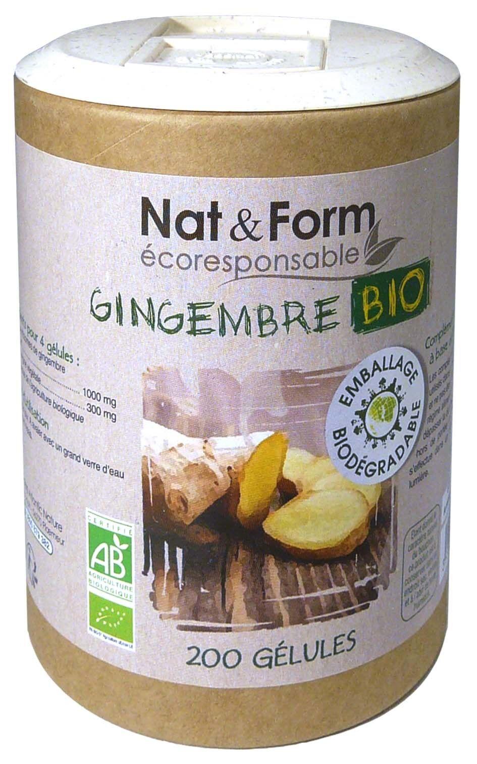 Nat & form gingembre bio 200 gelules