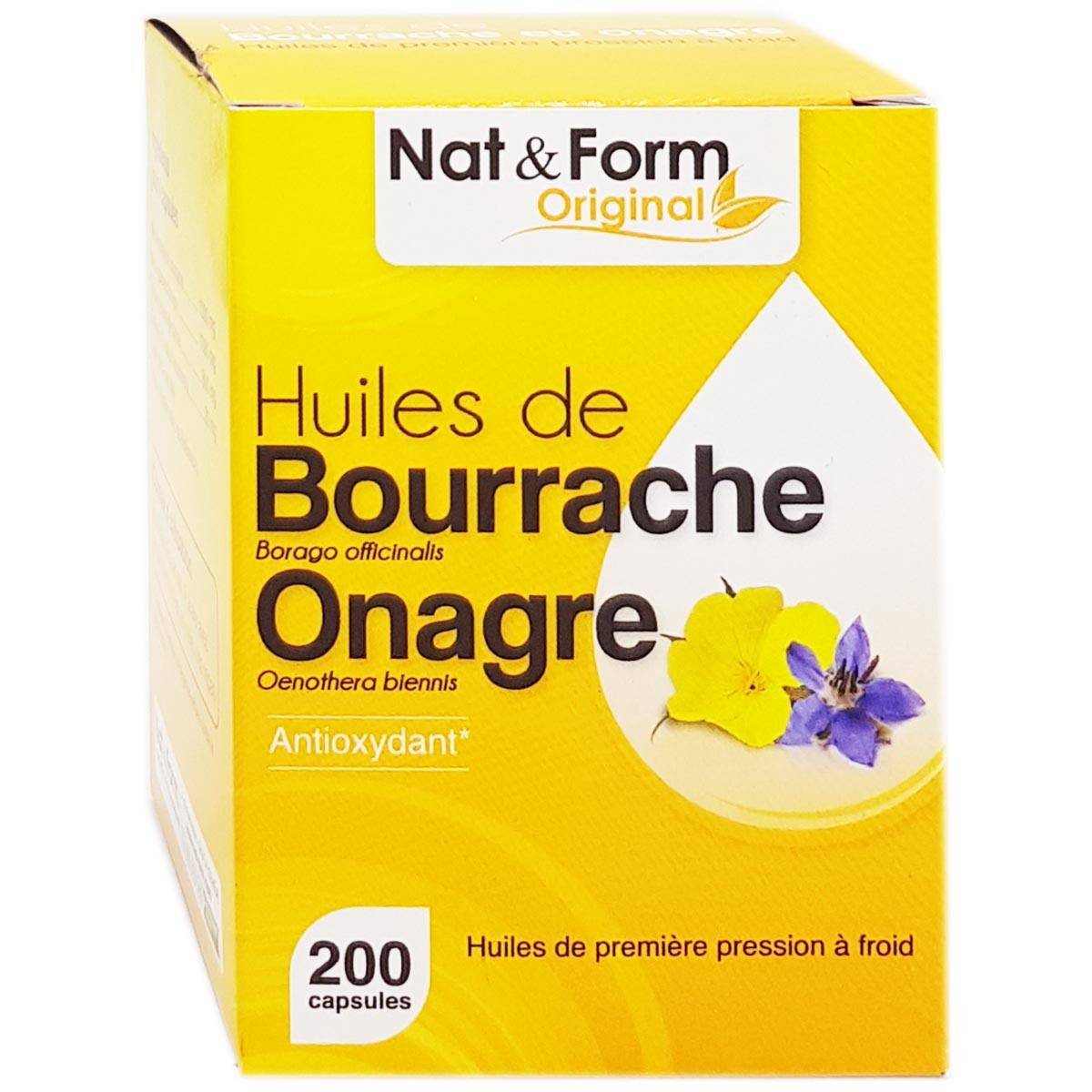 Nat & form original huiles de bourrache onagre 200 capsules