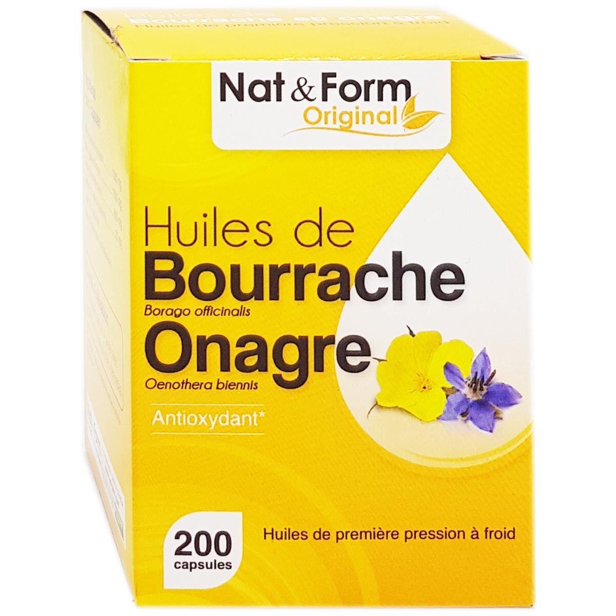 Nat & form original huiles de bourrache onagre 200 capsules