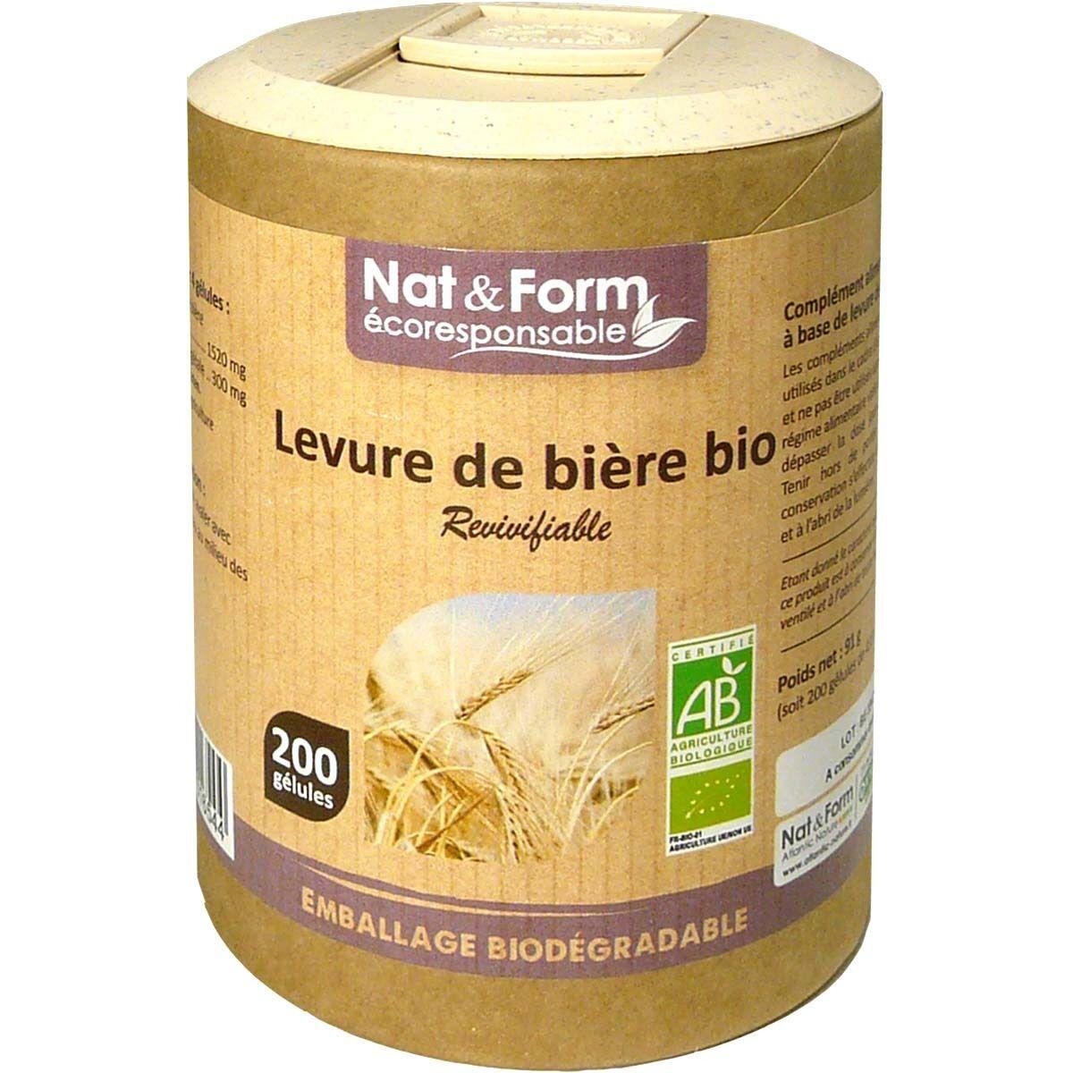Nat & form levure de biere bio revivifiable 200 gelules