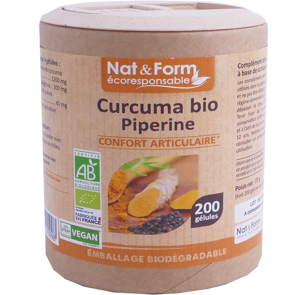 Nat & form curcuma bio piperine 200 gelules