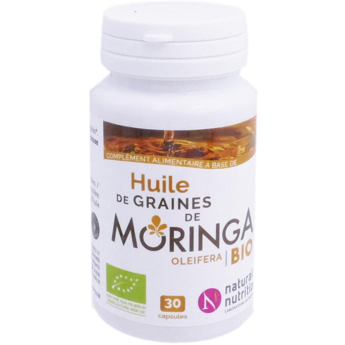 Natural nutrition huile de graines de moringa bio 30 capsules