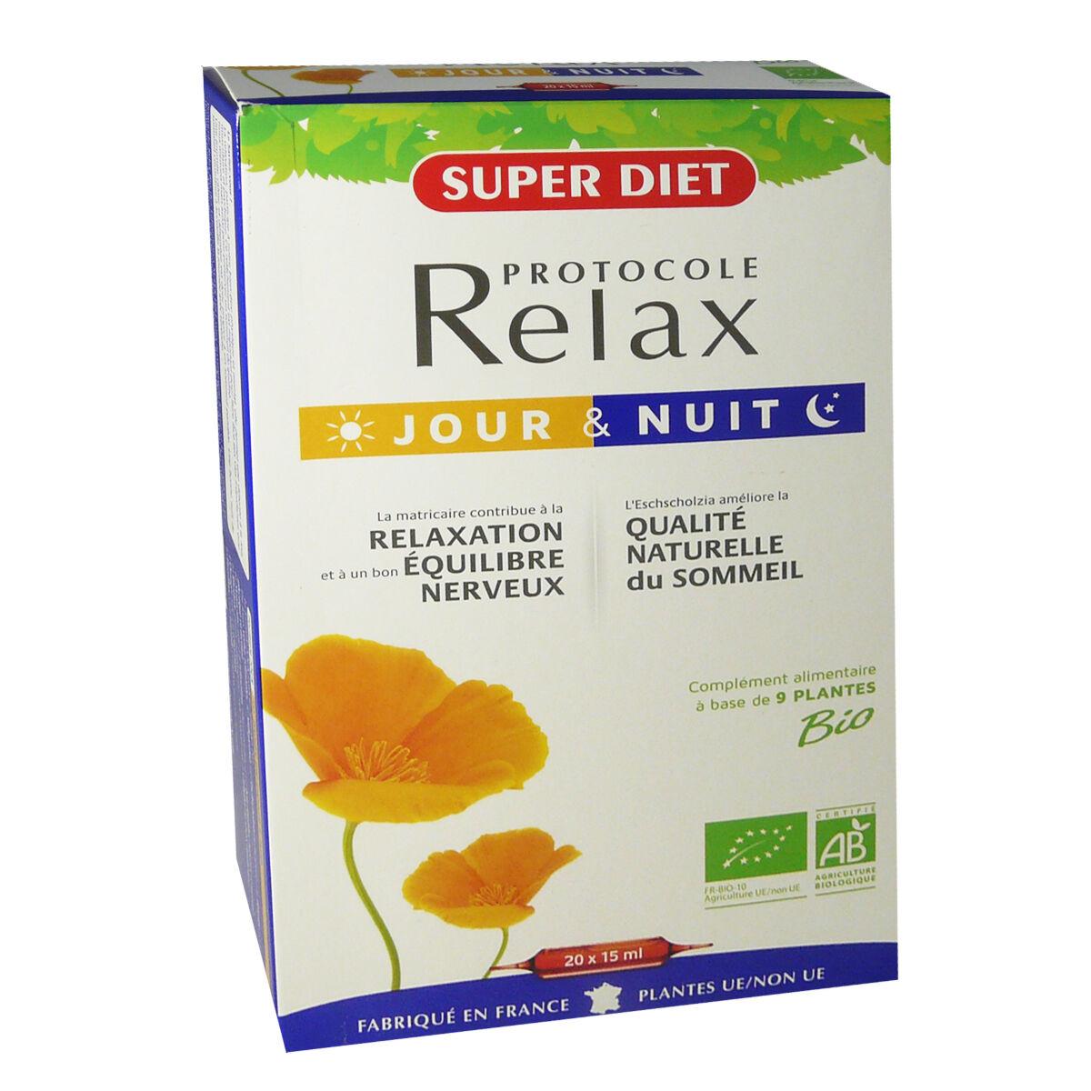 Super diet protocole relax bio jour & nuit 20 ampoules 15 ml