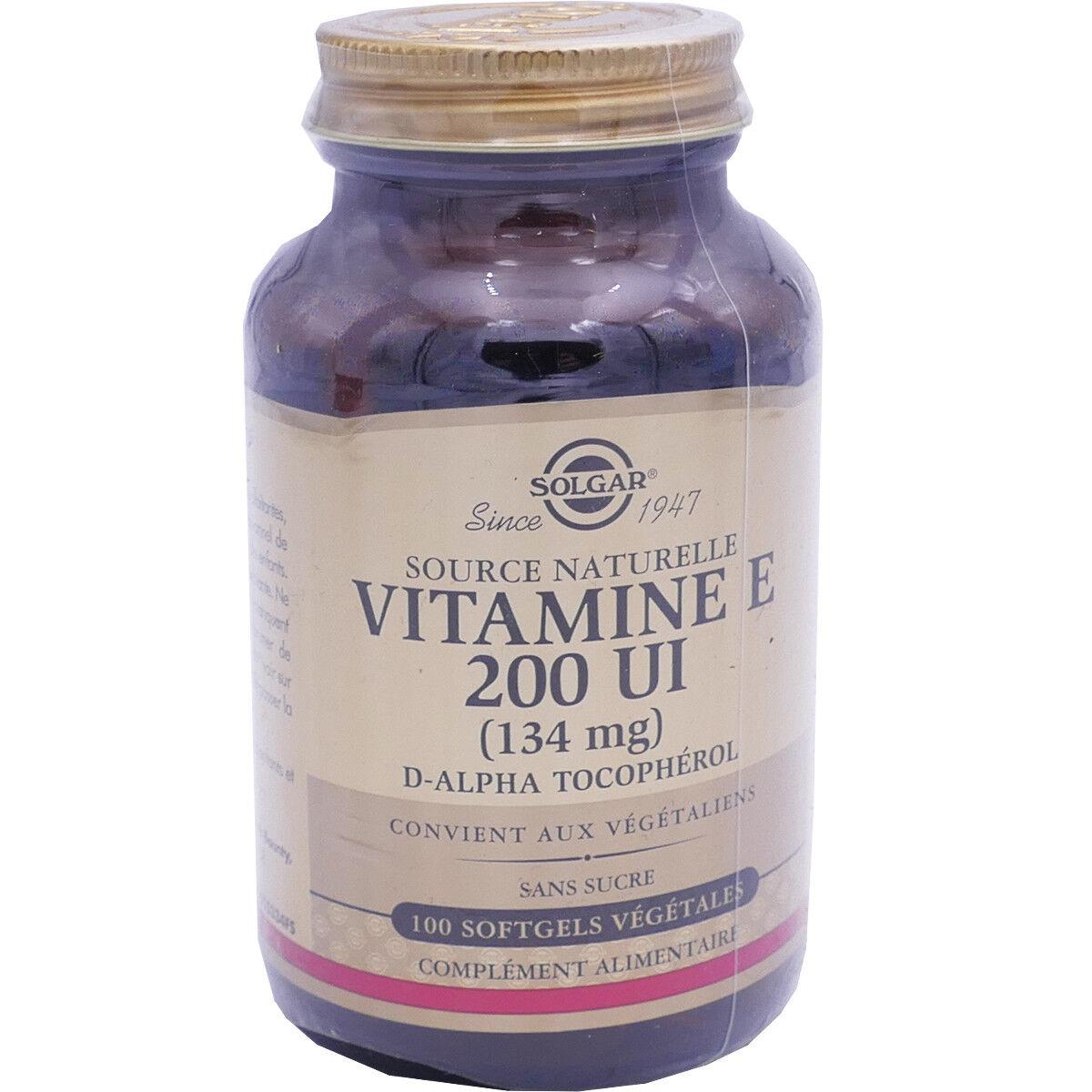 Solgar vitamine e 200 ui 134mg 100 softgels vegetales