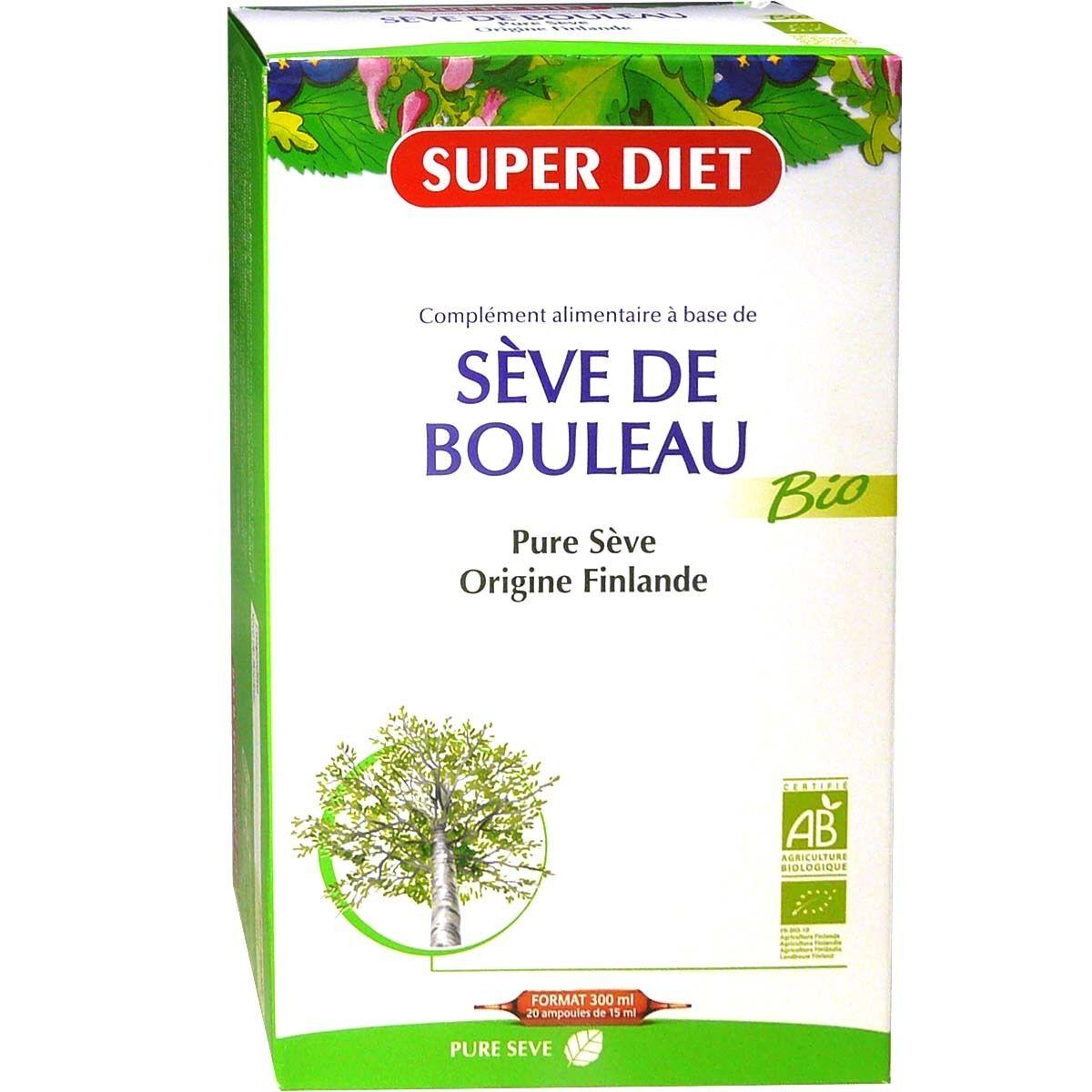 Super diet pure seve de bouleau bio 20 ampoules de 15ml