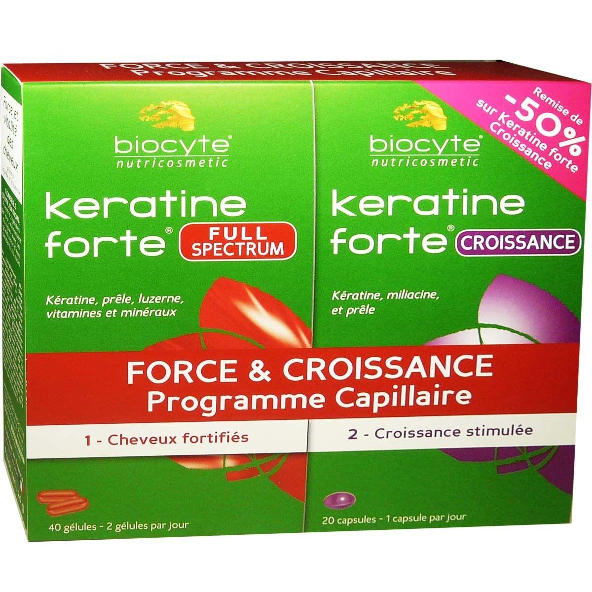 Biocyte keratine forte full spectrum 40 gelules et keratine forte croissance 20 capsules