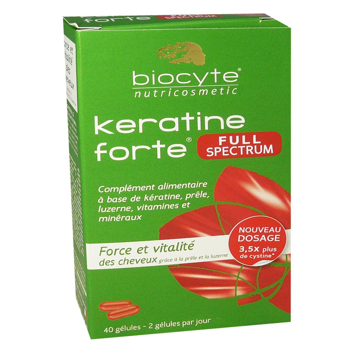 Biocyte keratine forte force & vitalite cheveux 40 gelules