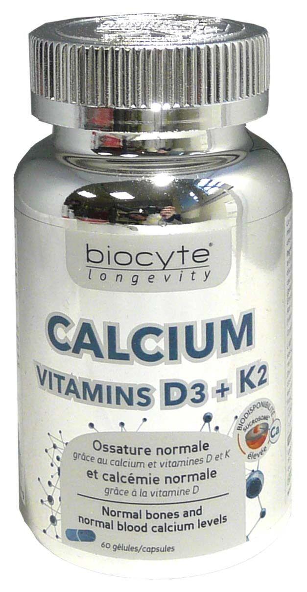 Biocyte calcium vitamines d3+k2 60 gelules