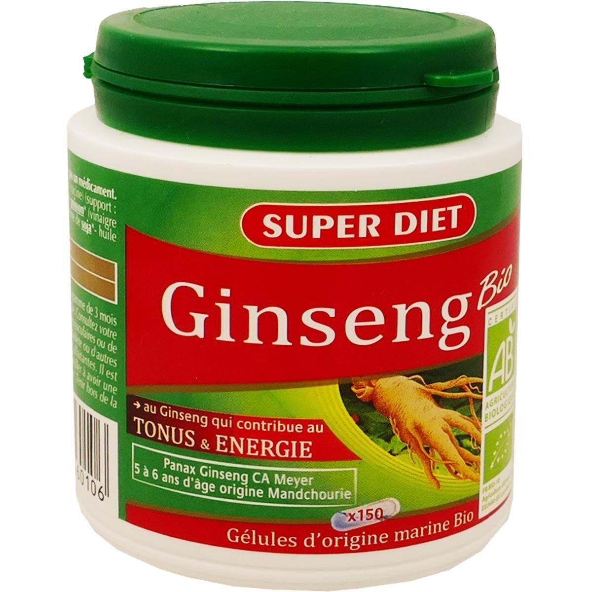 SUPER DIET Superdiet ginseng bio 150 gelules tonus et energie