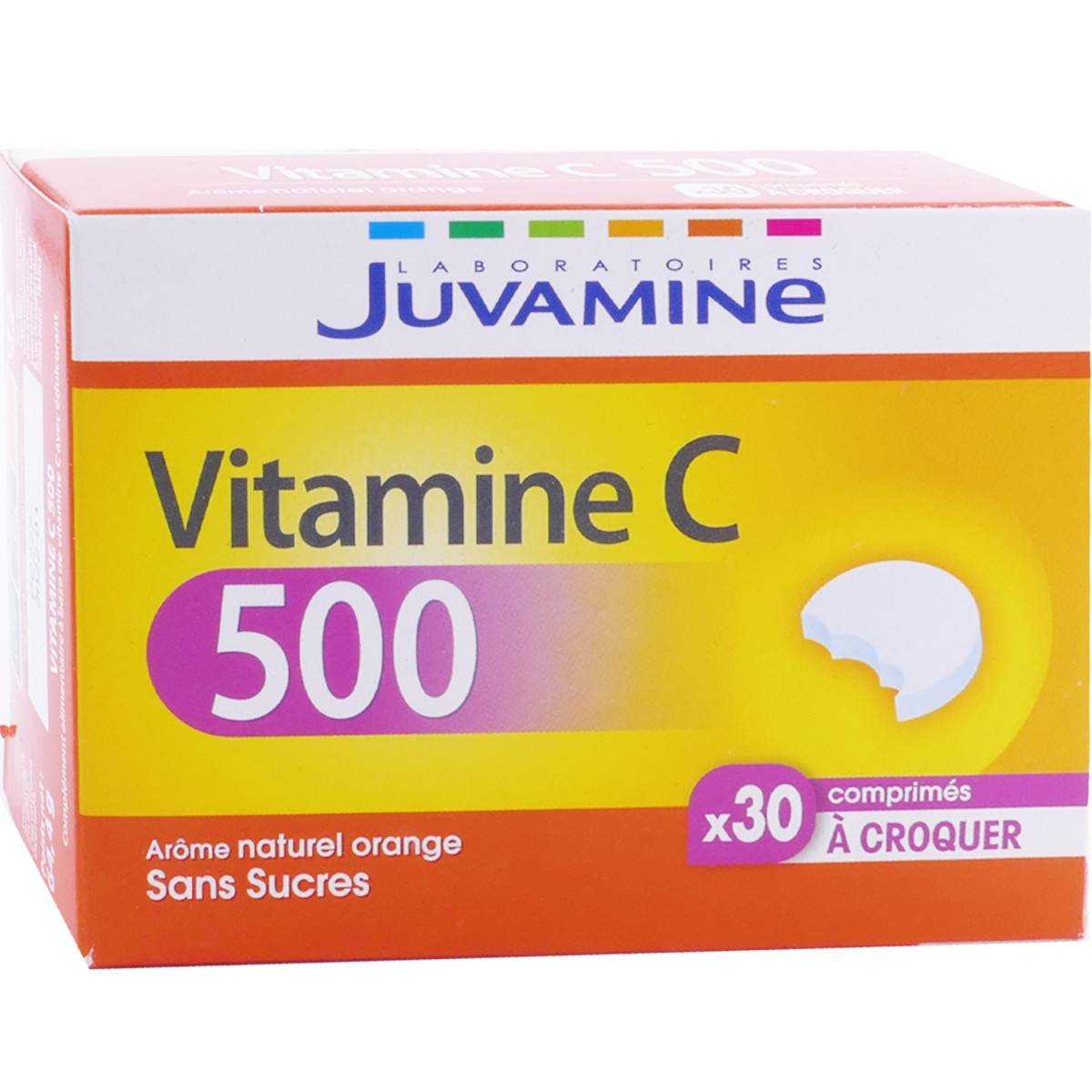 JUVASANTE Juvamine vitamine c 500 arome naturel orange 30 comprimes a croquer