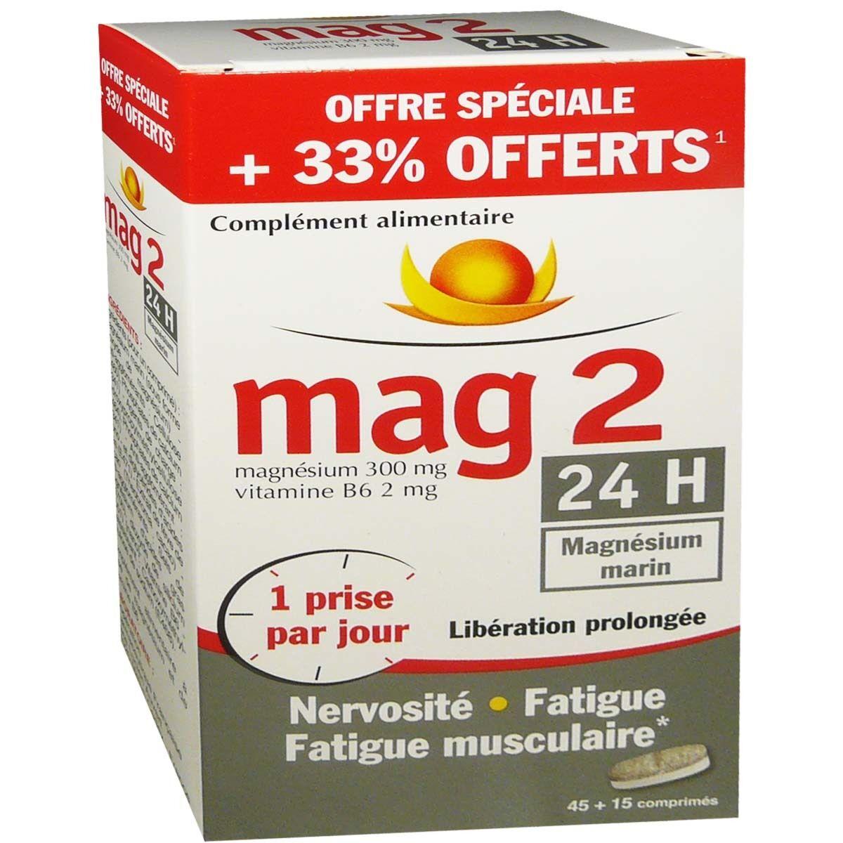 COOPER Mag2 24h magnesium marin 45 + 15 comprimes offerts
