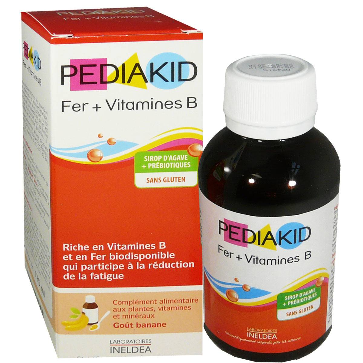 INELDEA Pediakid fer + vitamines b sans gluten 125 ml gout banane
