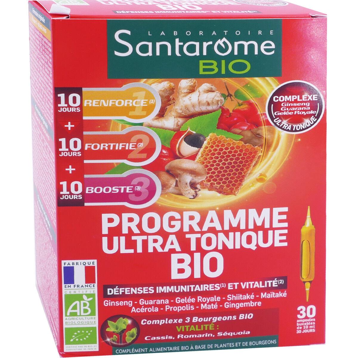 Santarome bio programe ultra tonique bio 30 ampoules 10ml