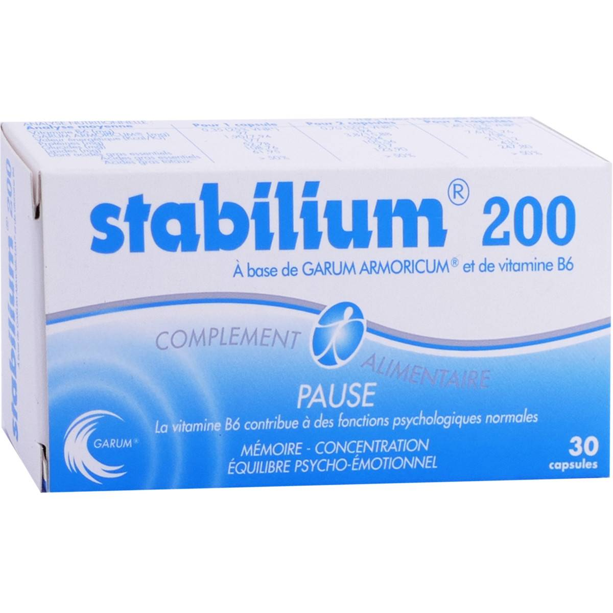YALACTA Stabilium 200 pause 30 capsules mÉmoire