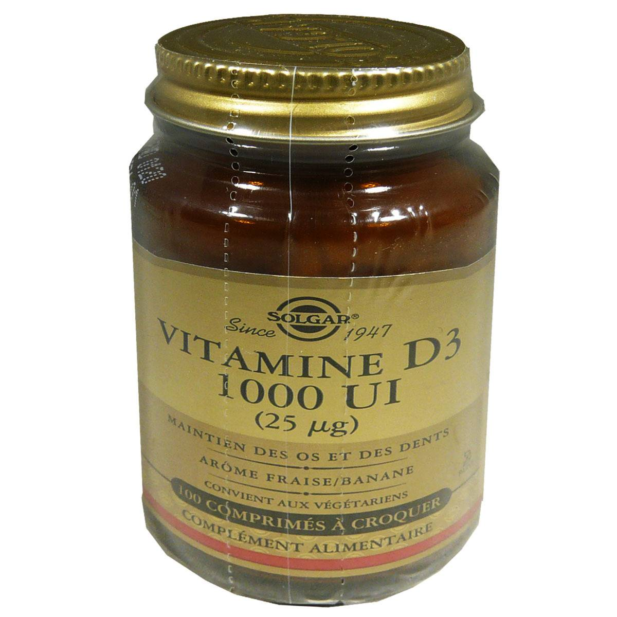 Solgar vitamine d3 1000ui 100 comprimes a croquer