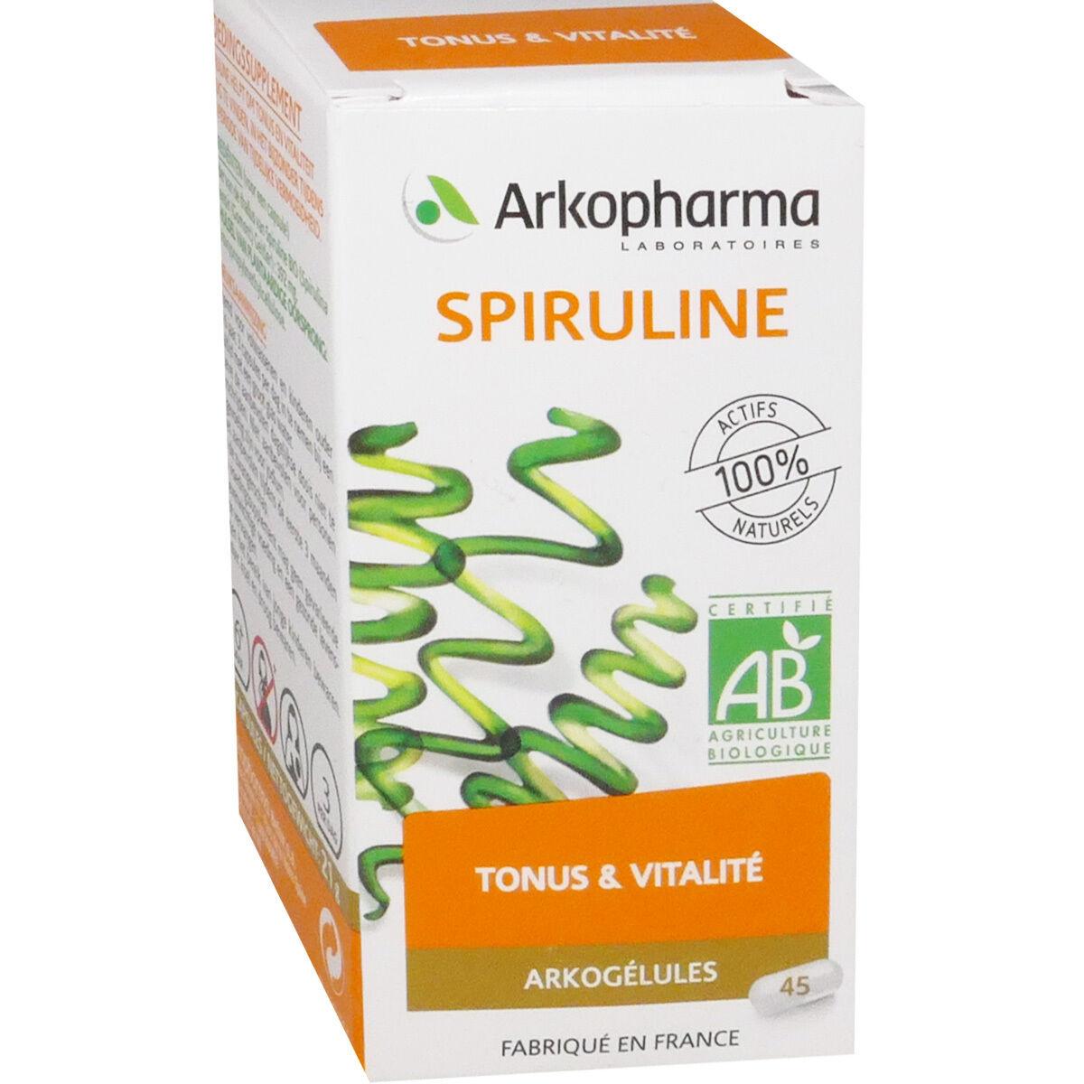 Arkopharma spiruline tonus & vitalite 45 gelules