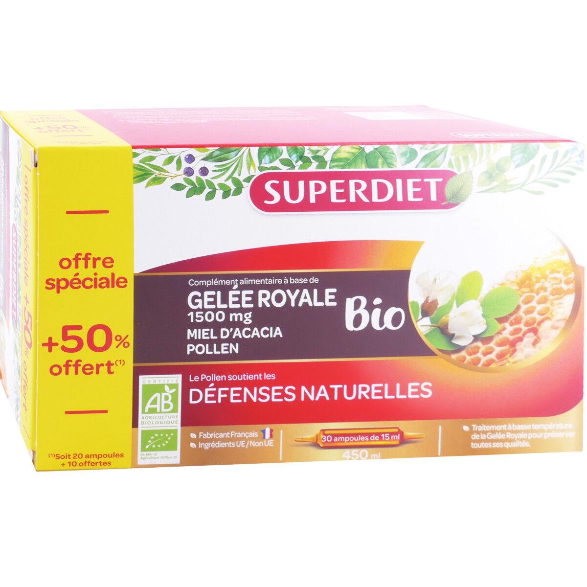 SUPER DIET Superdiet gelee royale bio 30 ampoules defenses naturelles