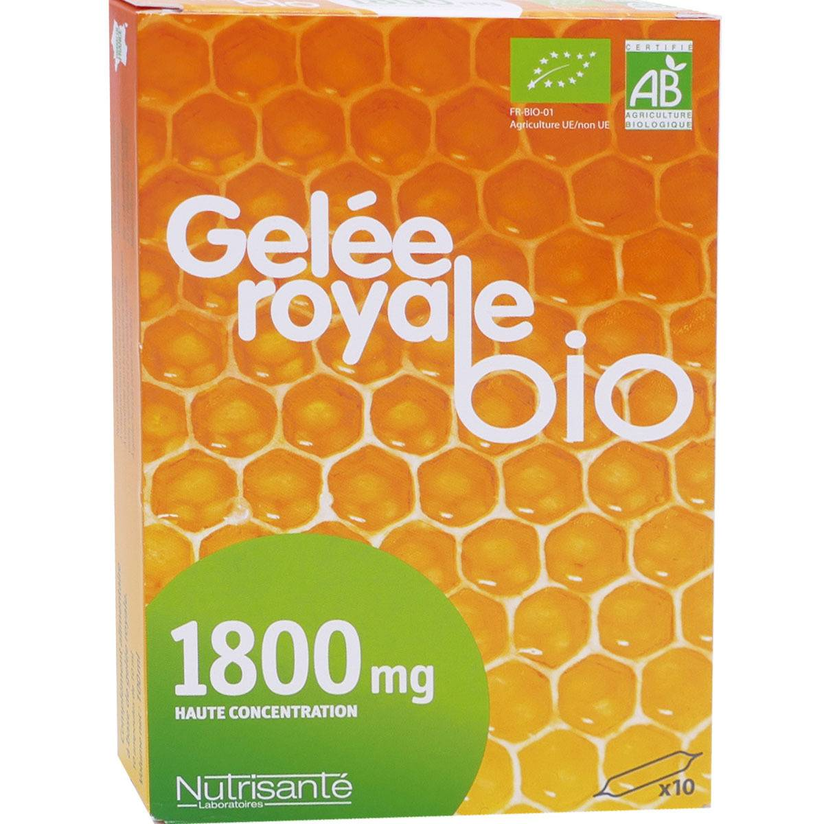 Nutrisante gelee royale bio 1800 mg 10 ml x 10 ampoules