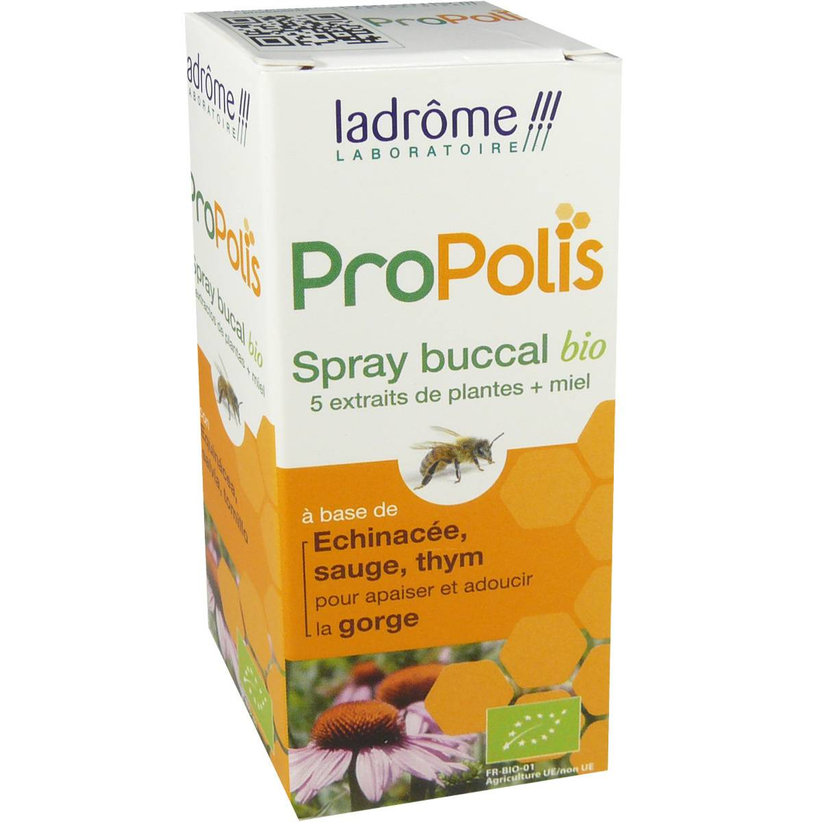Ladrome propolis spray buccal bio 5 plantes + miel 30 ml