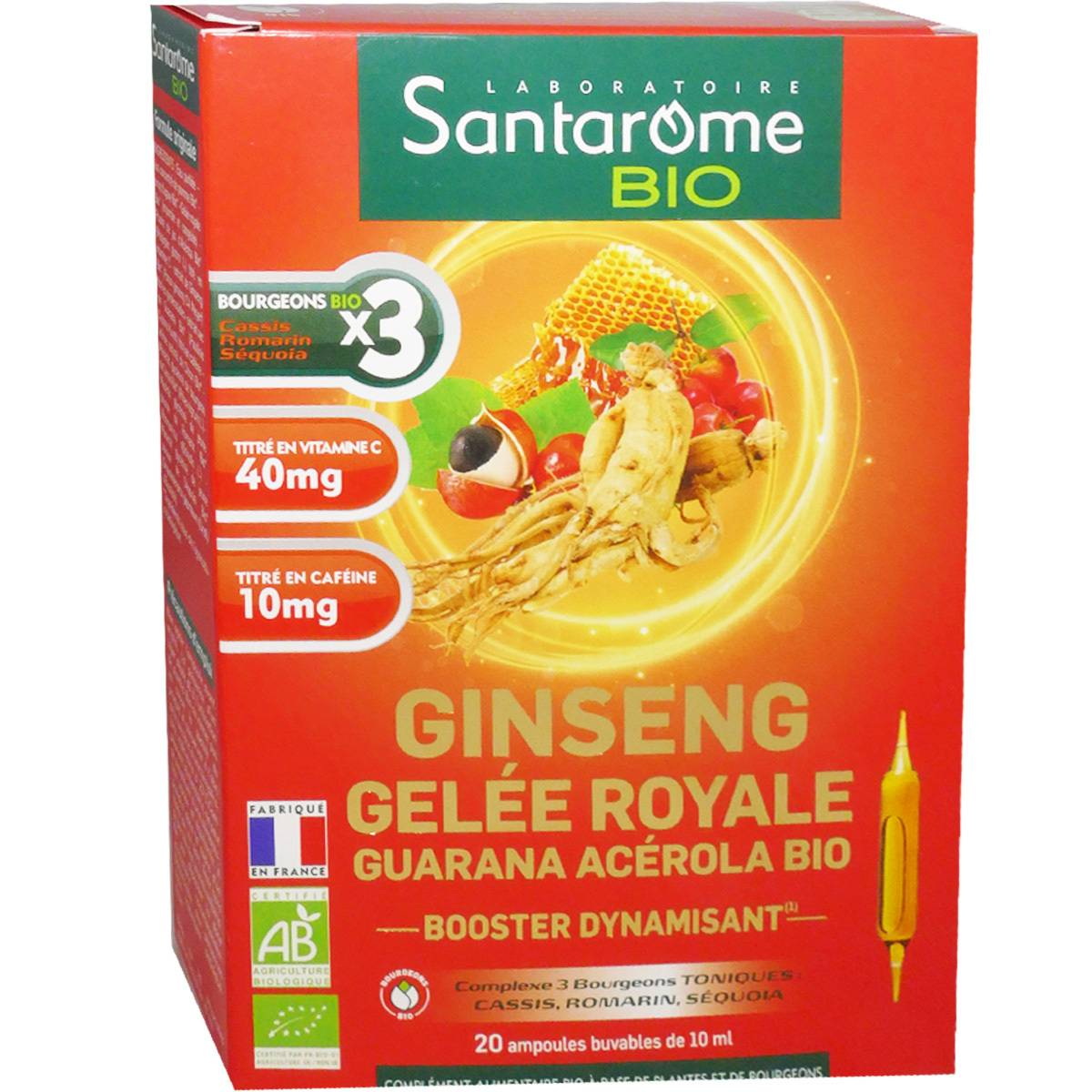 Santarome bio ginseng gelee royale guarana booster 20 ampoules 10 ml