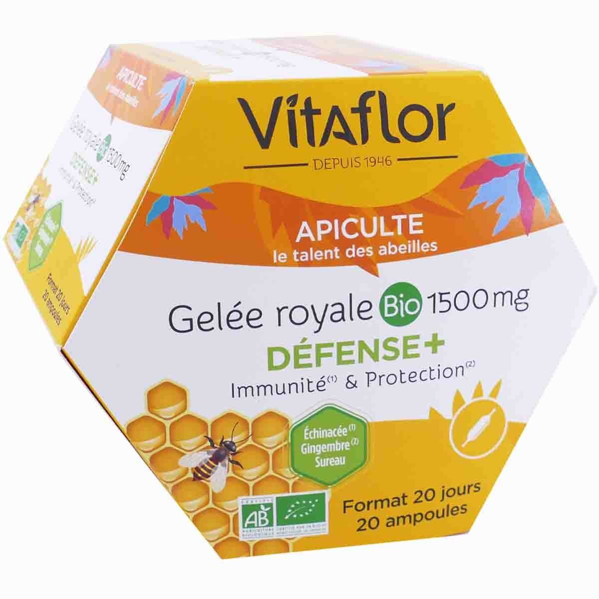 Vitaflor apicule gelee royale bio 1500mg 20 ampoules 15ml