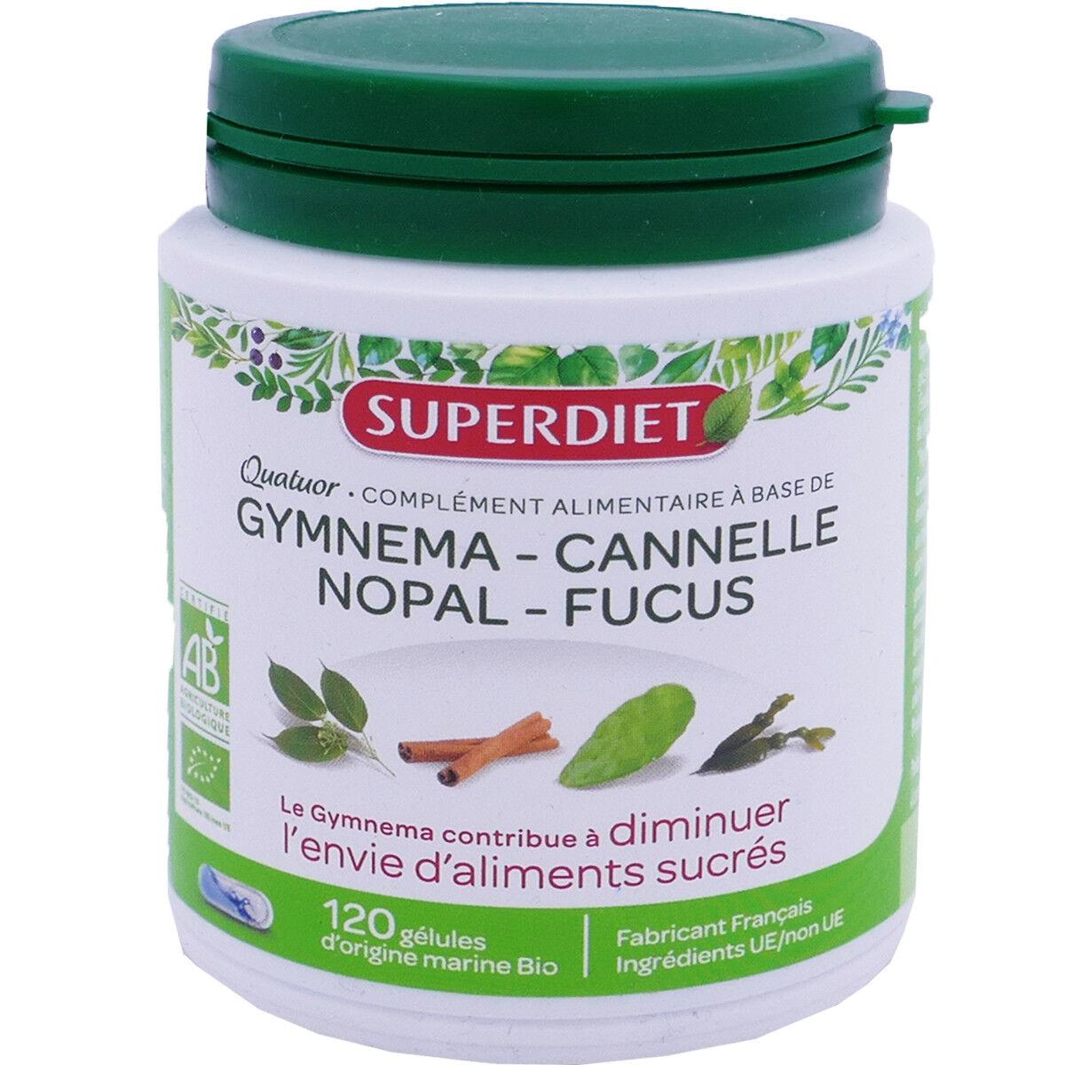 SUPER DIET Superdiet gymnema cannelle nopal fucus 120 gelules