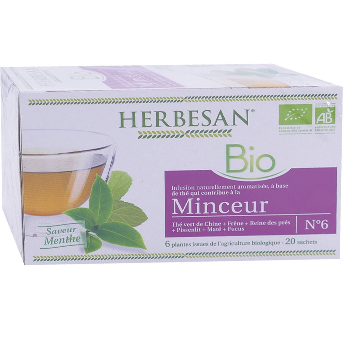 Herbesan bio minceur saveur menthe 20 sachets