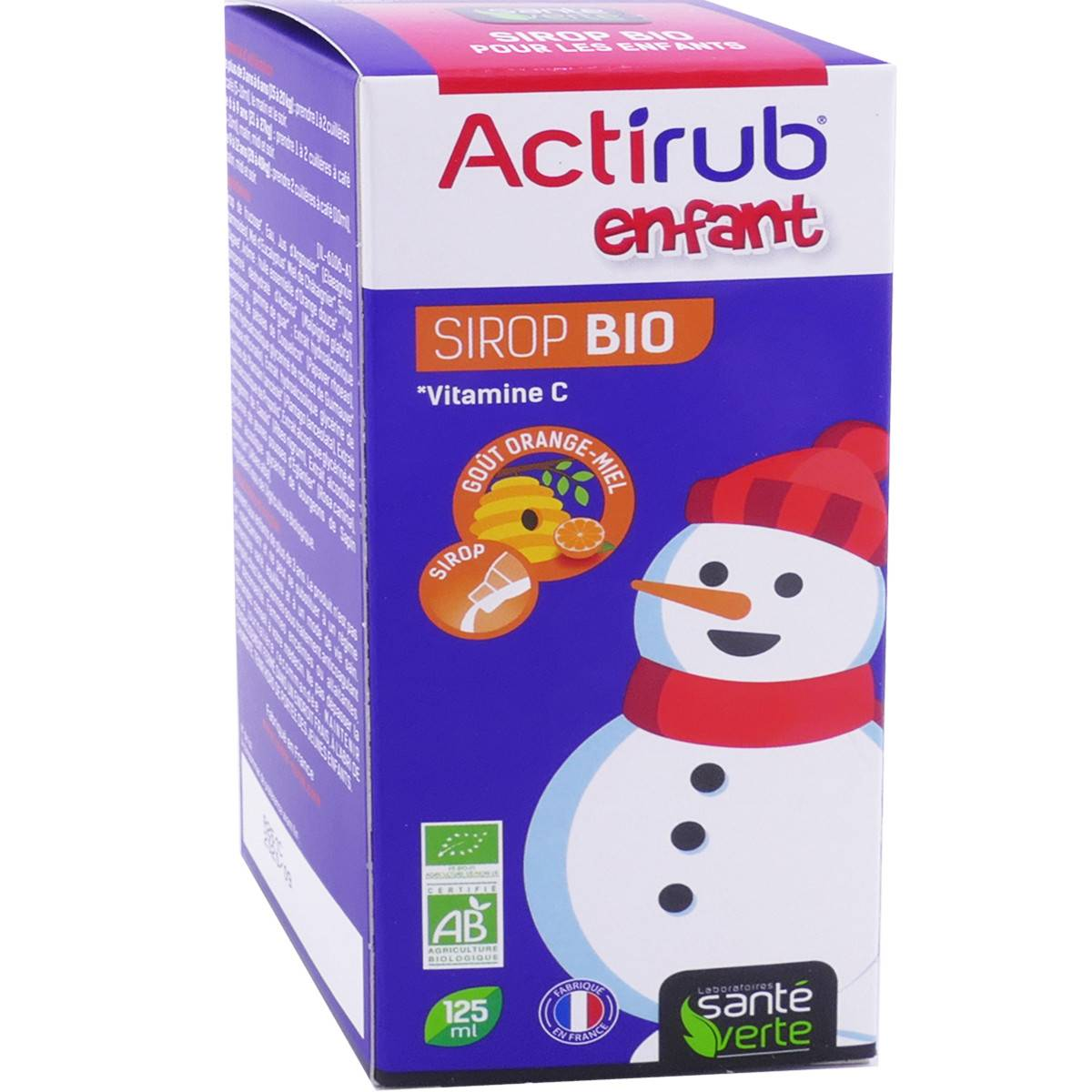 Sante verte enfant actirub sirop bio 125 ml gout orange miel