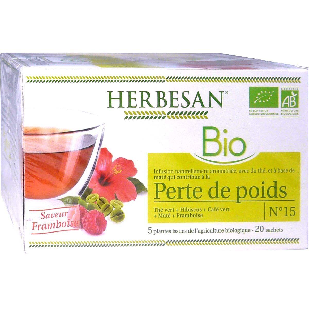 Herbesan infusion bio perte de poids gout framboise x20 sachets