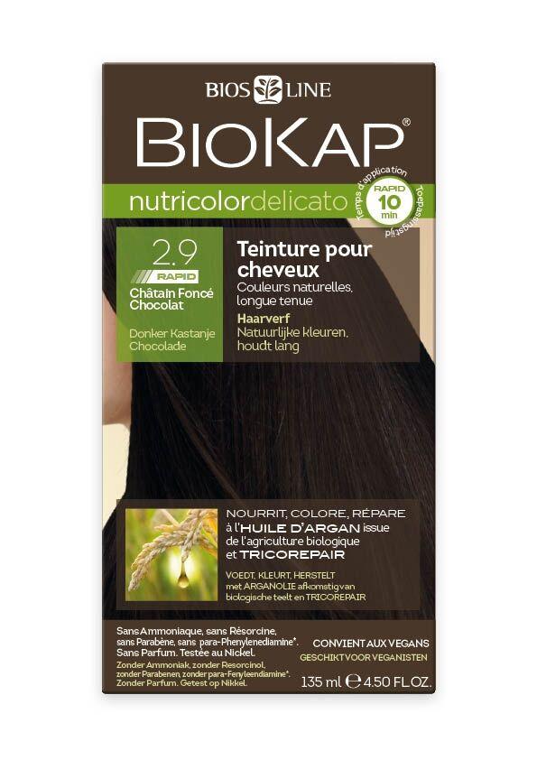 Biokap Coloration Nutricolor Delicato Rapid 10 minutes Châtain foncé chocolat 2.9