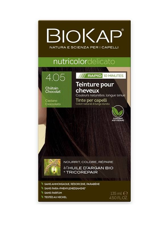 Biokap Coloration Nutricolor Delicato Rapid 10 minutes Châtain chocolat 4.05