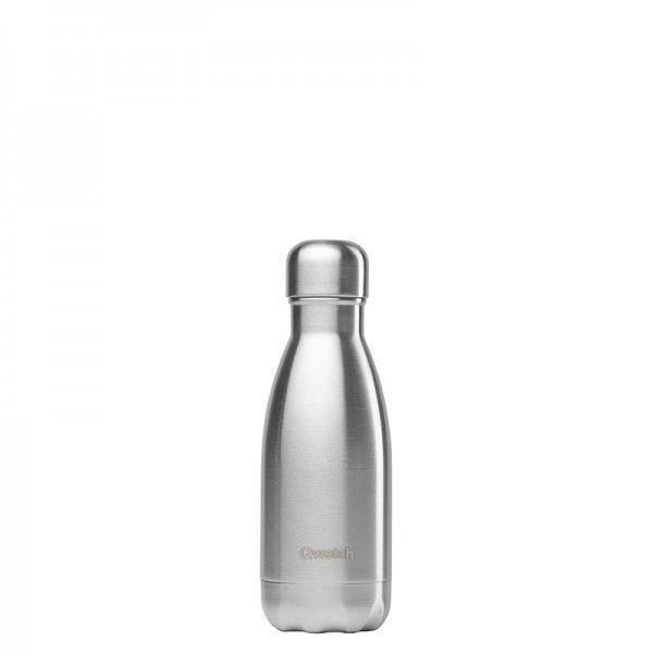 Qwetch Bouteille isotherme en inox sans BPA Petit format - Acier brossé - 260 ml