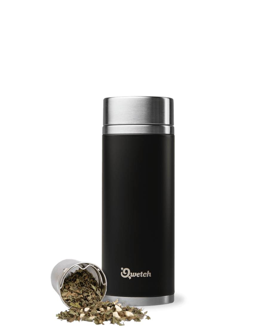 Qwetch Théière isotherme en inox sans BPA - 300 ml - Noire