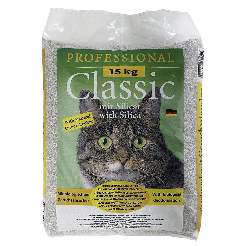 Professional Classic Litière Professional Classic, avec absorbeur d'odeurs - 15 kg