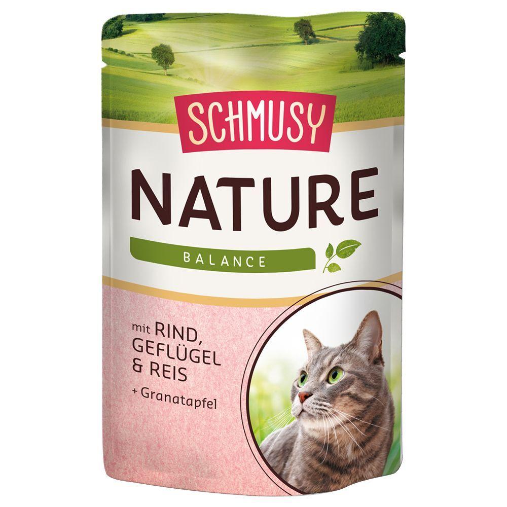 Schmusy Nature Balance 12 x 100 g - bœuf, volaille, riz, extraits de...