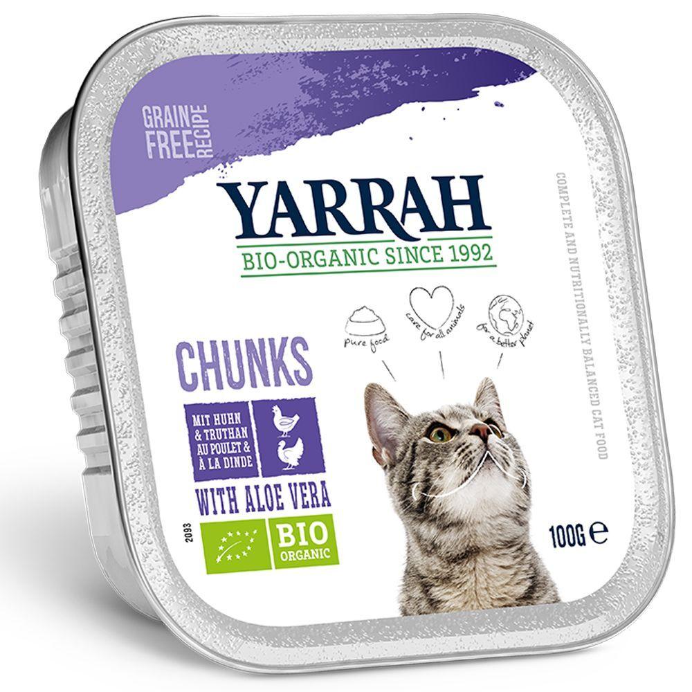 Yarrah 6x100g Bouchée en sauce Bio - poulet, bœuf Yarrah - Pâtée pour Chat