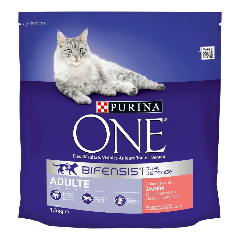 Purina One 1,5kg Adulte saumon, céréales complètes Purina ONE - Croquettes pour...