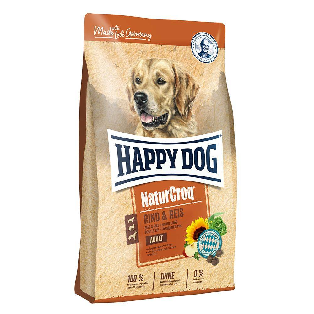 Happy Dog NaturCroq 15kg bœuf & riz Happy Dog NaturCroq - Croquettes pour Chien