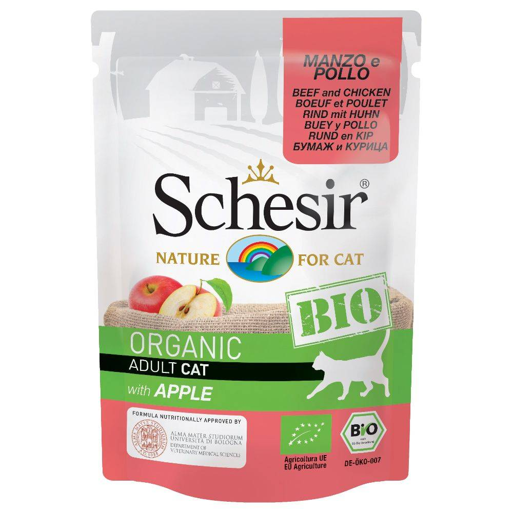 Schesir Bio 6 x 85 g - Sterilized bœuf bio, poulet bio, carottes bio