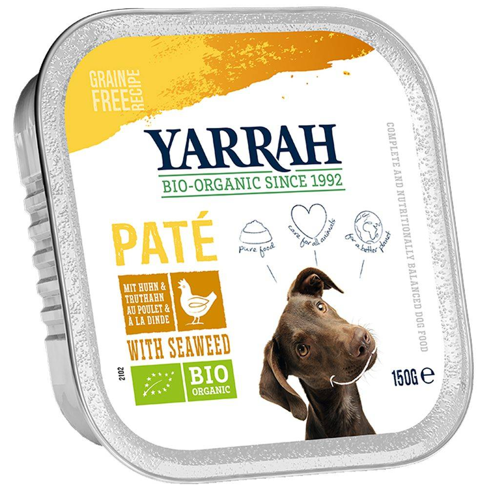 Yarrah Pâté Bio 12 x 150 g - dinde, aloe vera (sans céréales)