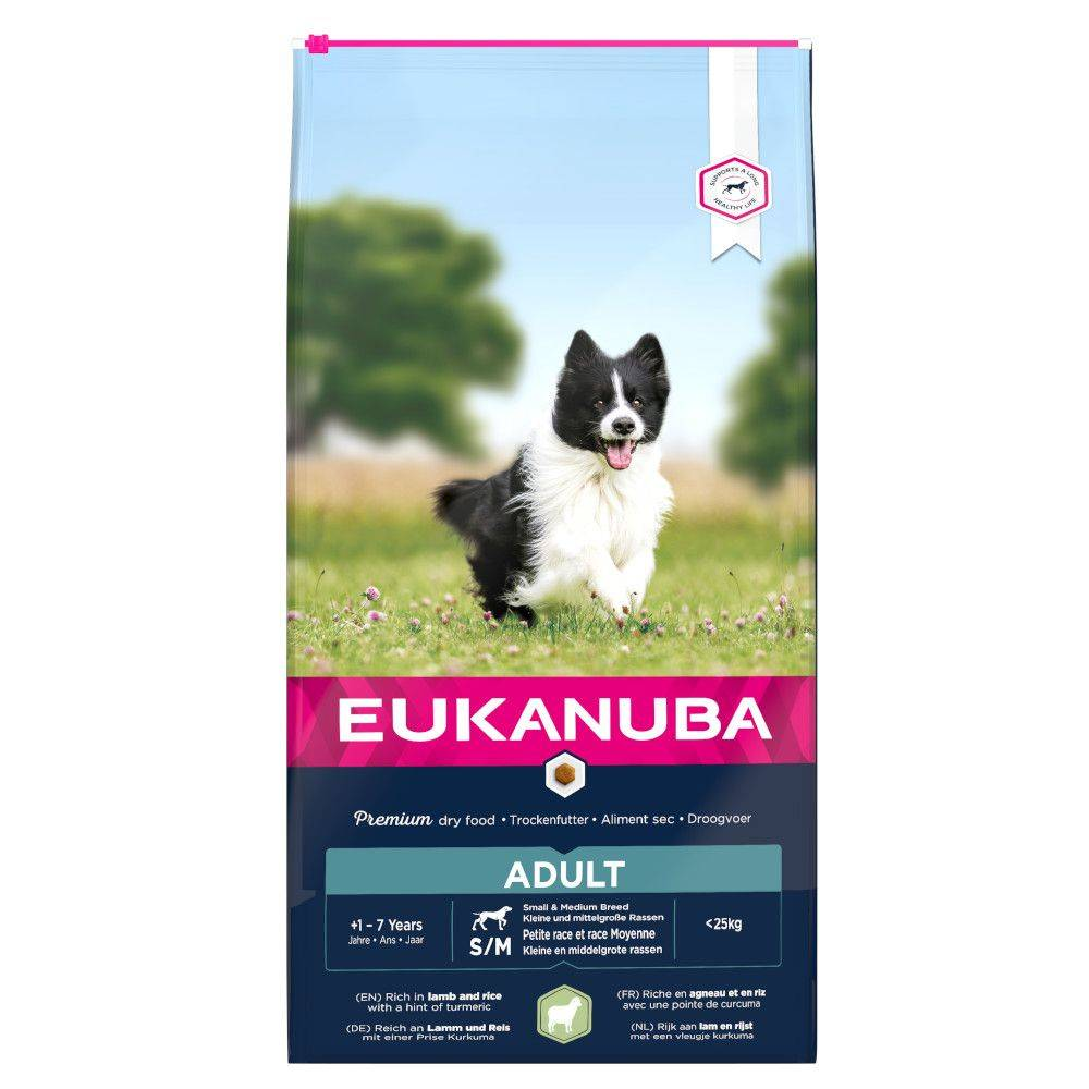 Eukanuba 2x12kg Adult Small/Medium Breed, agneau & riz Eukanuba - Croquettes...