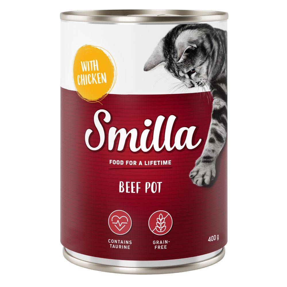 Smilla 6x400g bœuf bœuf, canard Smilla - Pâtée pour chat