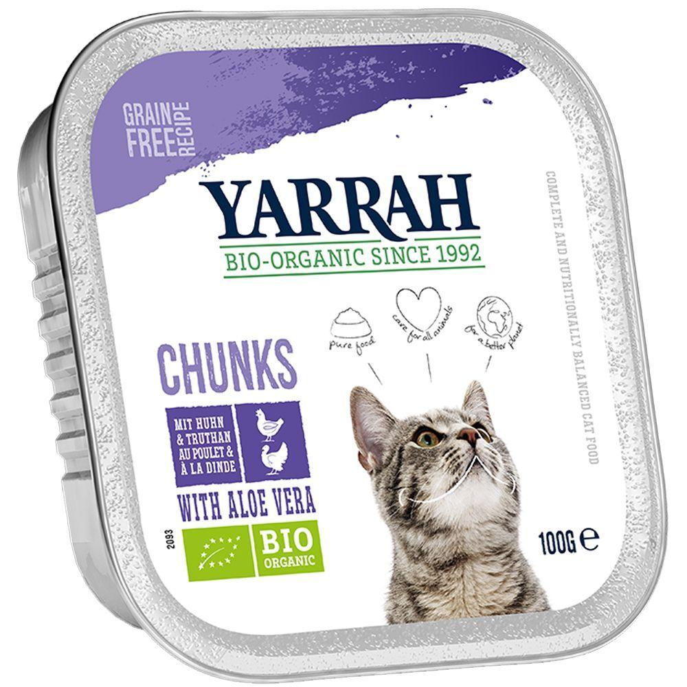 Yarrah 48x100g Yarrah Bio Chunks poulet bio, bœuf bio - Pâtée pour chat