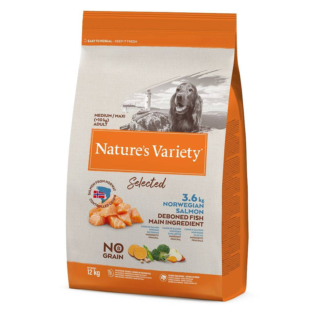 Nature's Variety 2x12kg Selected Medium Adult saumon de Norvège Nature's Variety -...